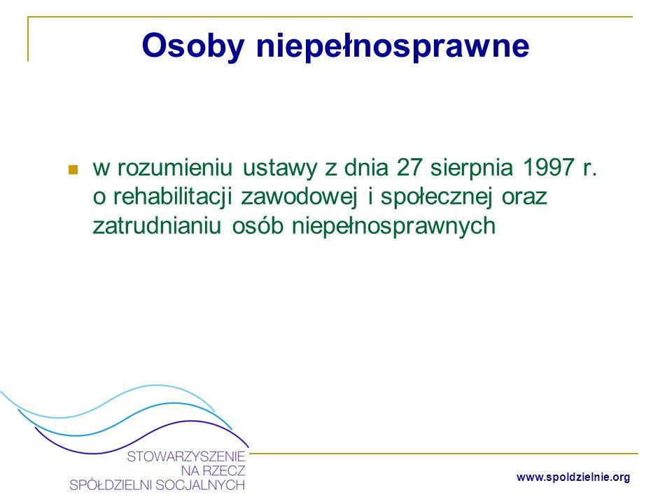 www.spoldzielnie.org Założyciele spółdzielni socjalnej muszą mieć pełną zdolność do czynności prawnych !!.