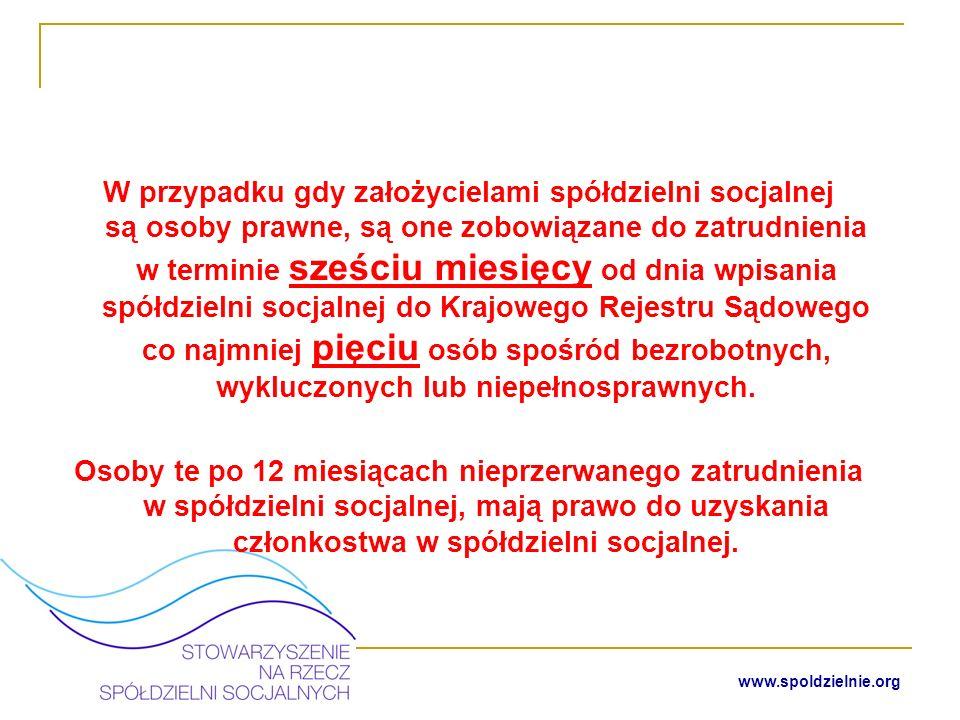 www.spoldzielnie.org Nabywanie członkostwa w istniejącej spółdzielni socjalnej – osoby fizyczne Członkostwo w spółdzielni socjalnej mogą nabyć osoby bezrobotne, wykluczone niepełnosprawne w tym także posiadające ograniczoną zdolność do czynności prawnych.
