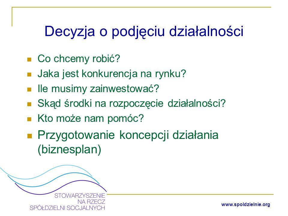 www.spoldzielnie.org Przygotowanie statutu spółdzielni socjalnej
