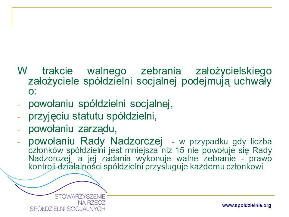 www.spoldzielnie.org Rejestracja spółdzielni socjalnej w Krajowym Rejestrze Sądowym