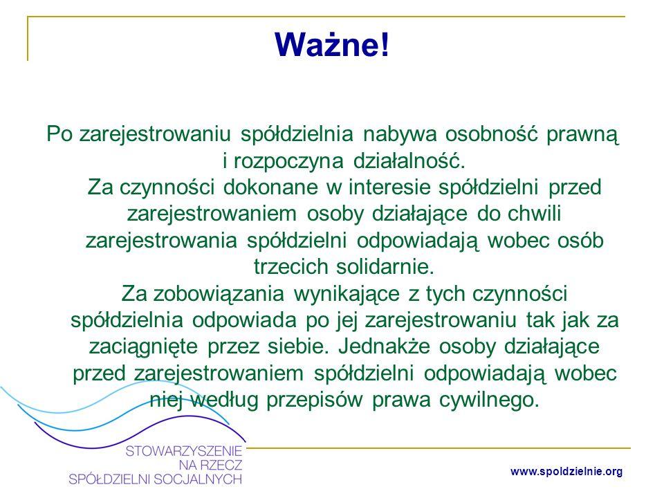 www.spoldzielnie.org Kolejne etapy uruchomienia spółdzielni socjalnej