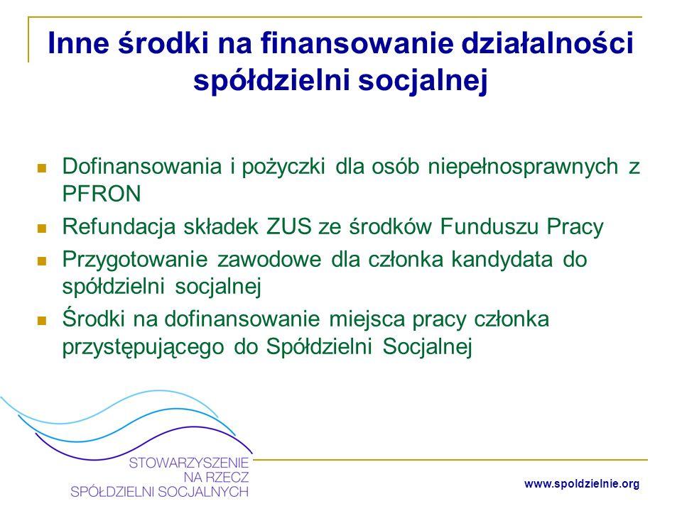 www.spoldzielnie.org Wsparcie dla spółdzielni socjalnych Działające na rzecz przedsiębiorczości społecznej organizacje pozarządowe Centra Integracji Społecznej Ośrodki Wsparcia Spółdzielni Socjalnych Projekty, których celem jest wspieranie tworzenia gospodarki społecznej (PO Kapitał Ludzki 7.2.2) Świadome i przychylne władze lokalne