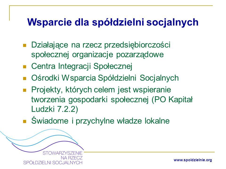 35 www.spoldzielnie.org Specyfika spółdzielni socjalnych Działalność w zakresie reintegracji społecznej i zawodowej oraz realizacja zadań pożytku publicznego