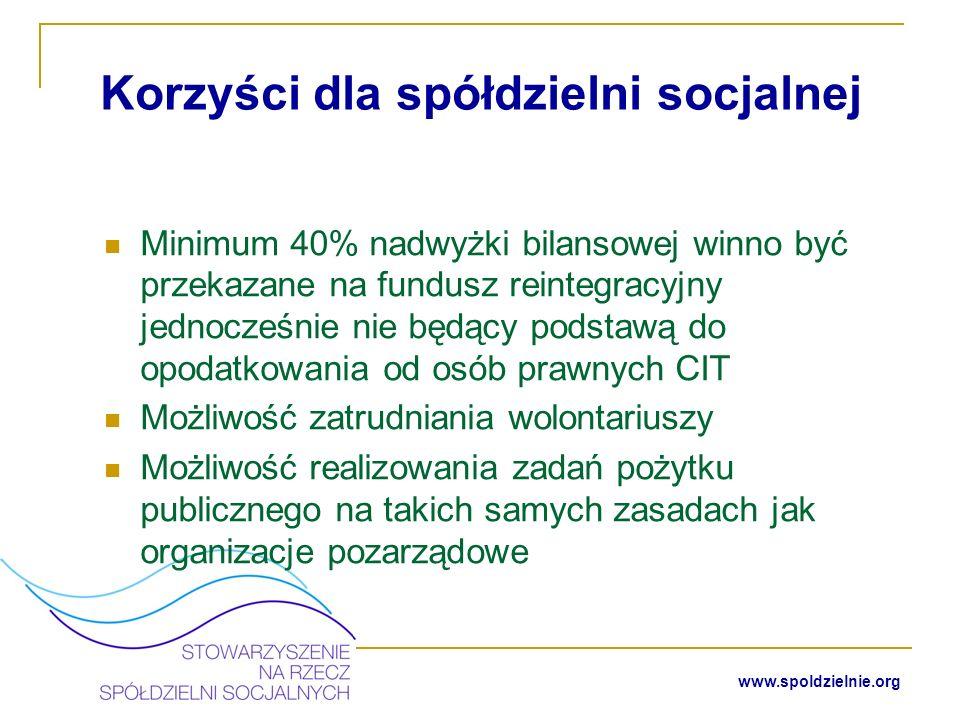 www.spoldzielnie.org Spółdzielnie socjalne w Polsce Obecnie jest zarejestrowanych około 160 spółdzielni socjalnych Spółdzielnie te prowadzą działalność w zakresie usługowym np.