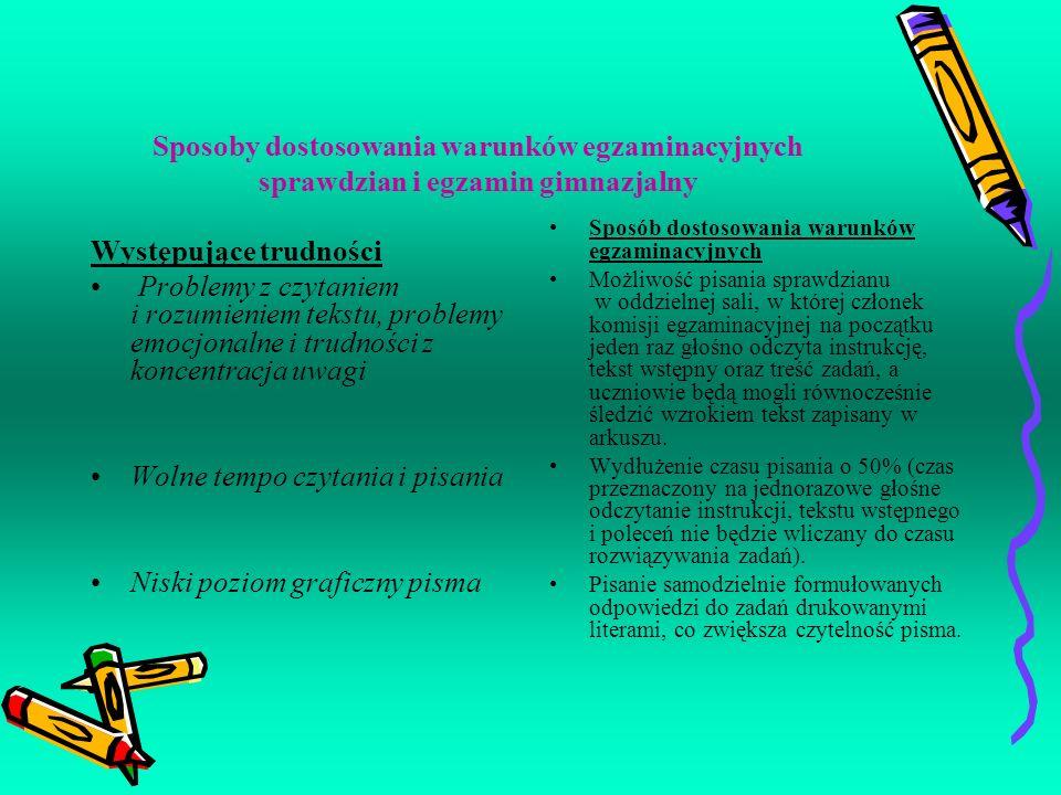 Sposoby dostosowania warunków egzaminacyjnych sprawdzian i egzamin gimnazjalny Występujące trudności Problemy z czytaniem i rozumieniem tekstu, proble