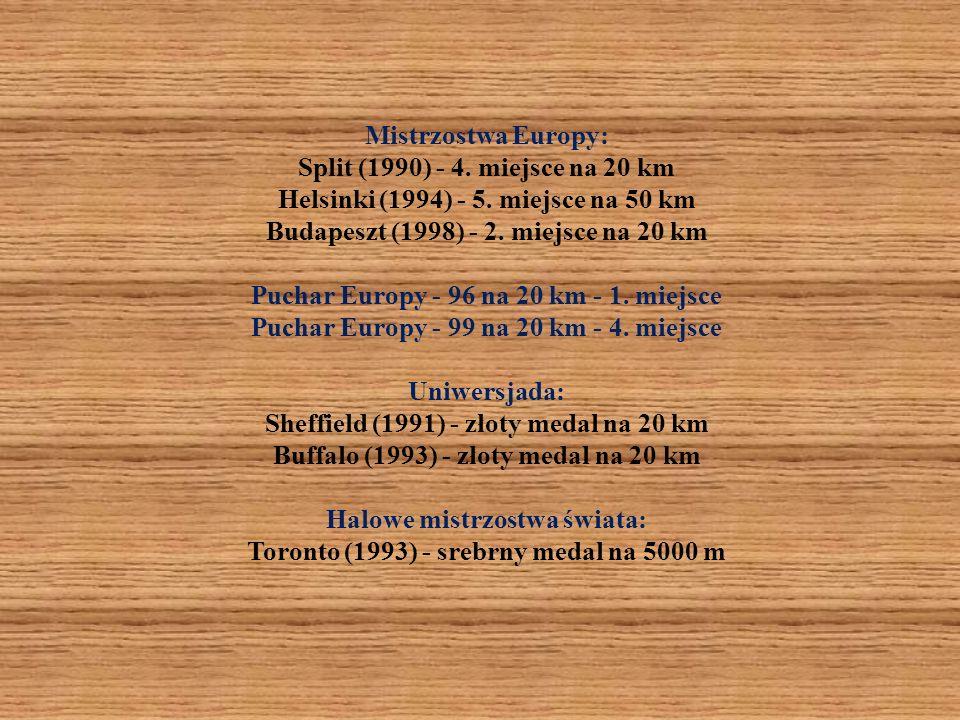 Mistrzostwa Europy: Split (1990) - 4. miejsce na 20 km Helsinki (1994) - 5. miejsce na 50 km Budapeszt (1998) - 2. miejsce na 20 km Puchar Europy - 96