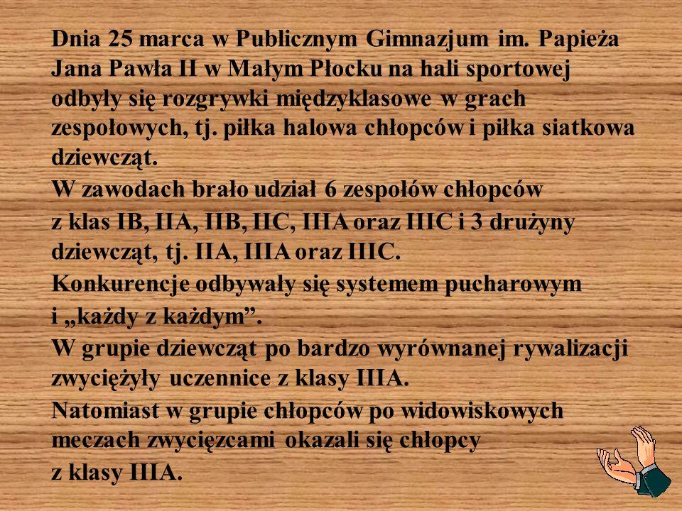 Dnia 25 marca w Publicznym Gimnazjum im. Papieża Jana Pawła II w Małym Płocku na hali sportowej odbyły się rozgrywki międzyklasowe w grach zespołowych