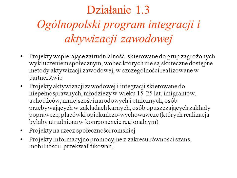Działanie 1.3 Ogólnopolski program integracji i aktywizacji zawodowej Projekty wspierające zatrudnialność, skierowane do grup zagrożonych wykluczeniem