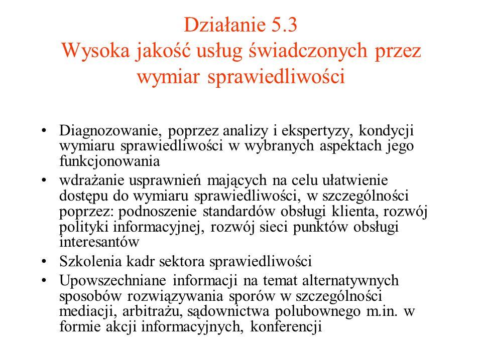 Działanie 5.3 Wysoka jakość usług świadczonych przez wymiar sprawiedliwości Diagnozowanie, poprzez analizy i ekspertyzy, kondycji wymiaru sprawiedliwo