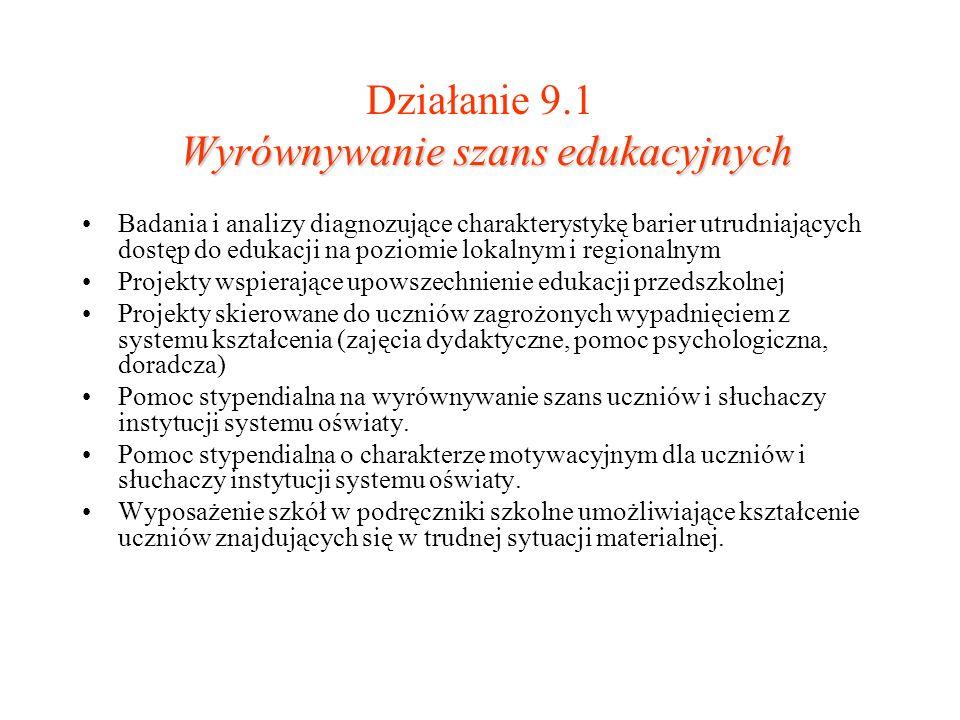 Wyrównywanie szans edukacyjnych Działanie 9.1 Wyrównywanie szans edukacyjnych Badania i analizy diagnozujące charakterystykę barier utrudniających dos