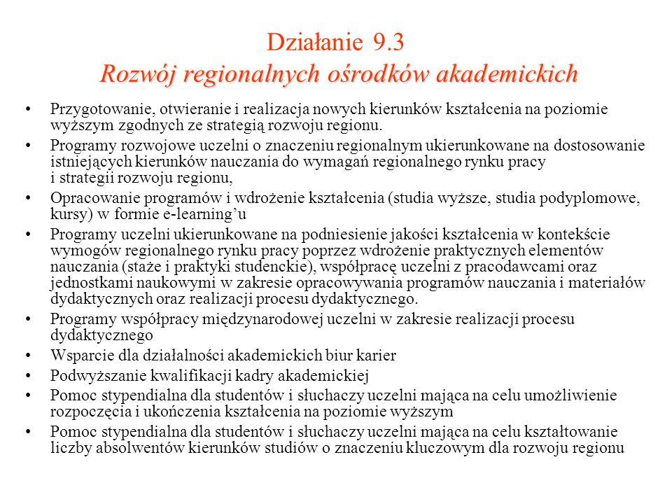 Rozwój regionalnych ośrodków akademickich Działanie 9.3 Rozwój regionalnych ośrodków akademickich Przygotowanie, otwieranie i realizacja nowych kierun