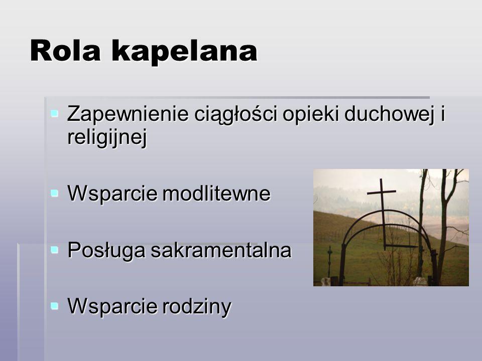 Rola kapelana Zapewnienie ciągłości opieki duchowej i religijnej Zapewnienie ciągłości opieki duchowej i religijnej Wsparcie modlitewne Wsparcie modli
