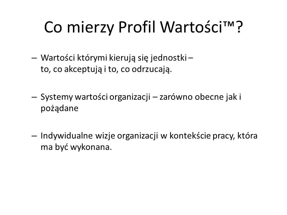 Co mierzy Profil Wartości? – Wartości którymi kierują się jednostki – to, co akceptują i to, co odrzucają. – Systemy wartości organizacji – zarówno ob