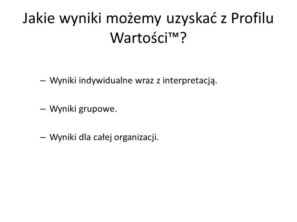 Jakie wyniki możemy uzyskać z Profilu Wartości? – Wyniki indywidualne wraz z interpretacją. – Wyniki grupowe. – Wyniki dla całej organizacji.