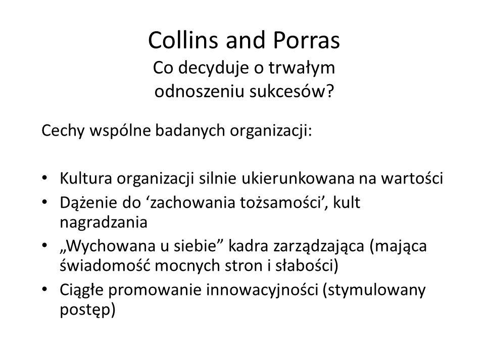 Collins and Porras Co decyduje o trwałym odnoszeniu sukcesów? Cechy wspólne badanych organizacji: Kultura organizacji silnie ukierunkowana na wartości