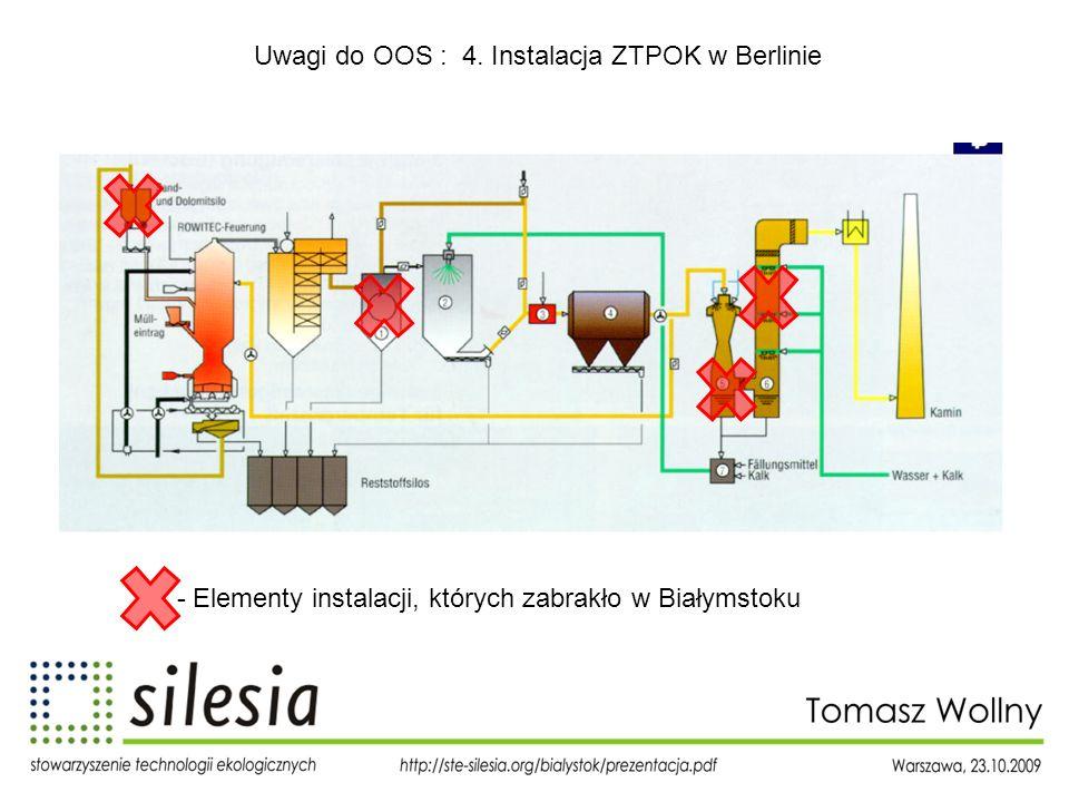 Uwagi do OOS : 4. Instalacja ZTPOK w Berlinie - Elementy instalacji, których zabrakło w Białymstoku