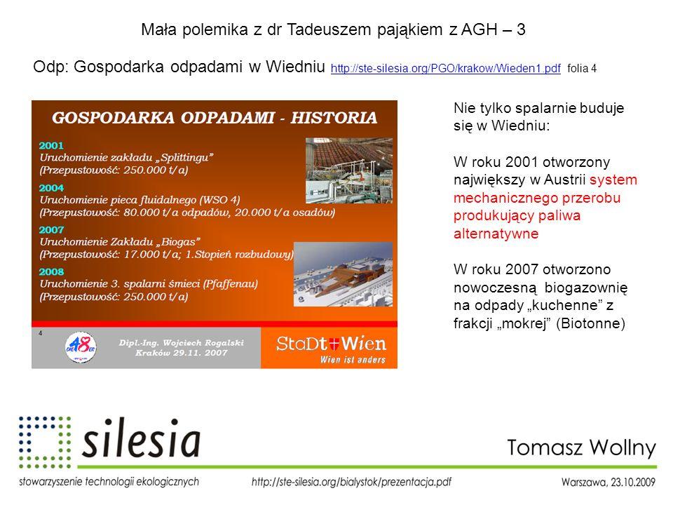 Mała polemika z dr Tadeuszem pająkiem z AGH – 3 Odp: Gospodarka odpadami w Wiedniu http://ste-silesia.org/PGO/krakow/Wieden1.pdf folia 4 http://ste-si