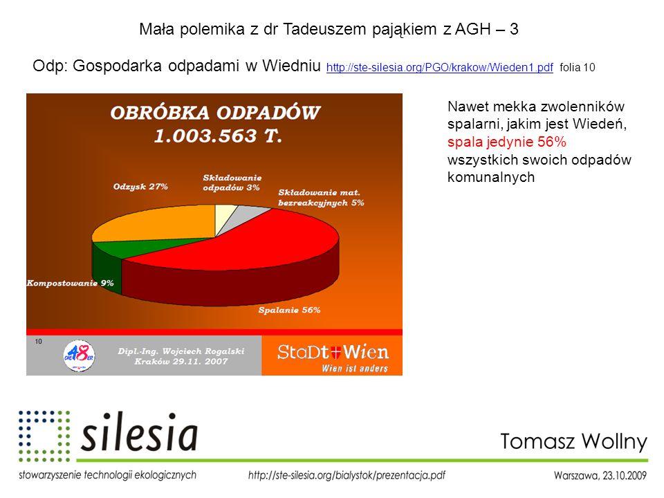 Mała polemika z dr Tadeuszem pająkiem z AGH – 3 Odp: Gospodarka odpadami w Wiedniu http://ste-silesia.org/PGO/krakow/Wieden1.pdf folia 10 http://ste-s
