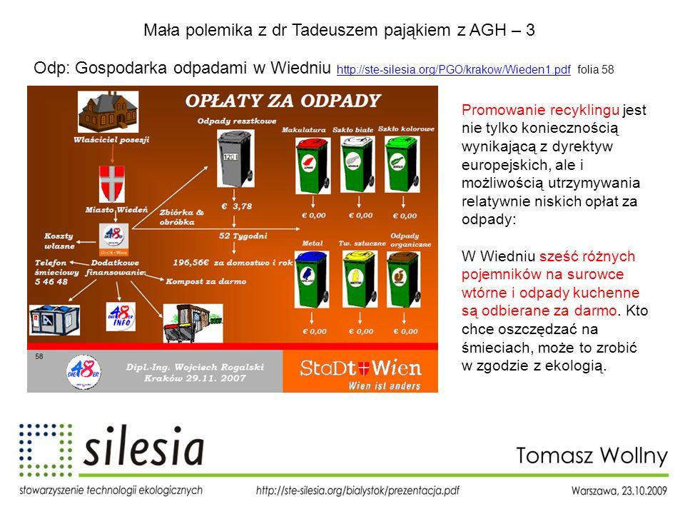 Mała polemika z dr Tadeuszem pająkiem z AGH – 3 Odp: Gospodarka odpadami w Wiedniu http://ste-silesia.org/PGO/krakow/Wieden1.pdf folia 58 http://ste-s