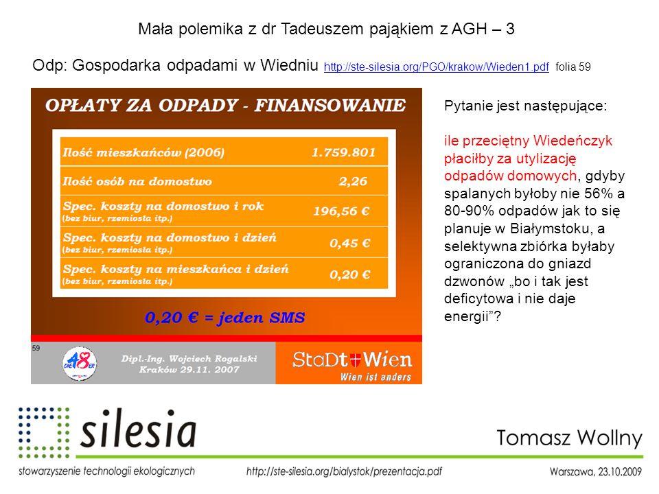 Mała polemika z dr Tadeuszem pająkiem z AGH – 3 Odp: Gospodarka odpadami w Wiedniu http://ste-silesia.org/PGO/krakow/Wieden1.pdf folia 59 http://ste-s