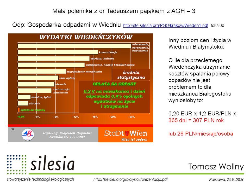 Mała polemika z dr Tadeuszem pająkiem z AGH – 3 Odp: Gospodarka odpadami w Wiedniu http://ste-silesia.org/PGO/krakow/Wieden1.pdf folia 60 http://ste-s