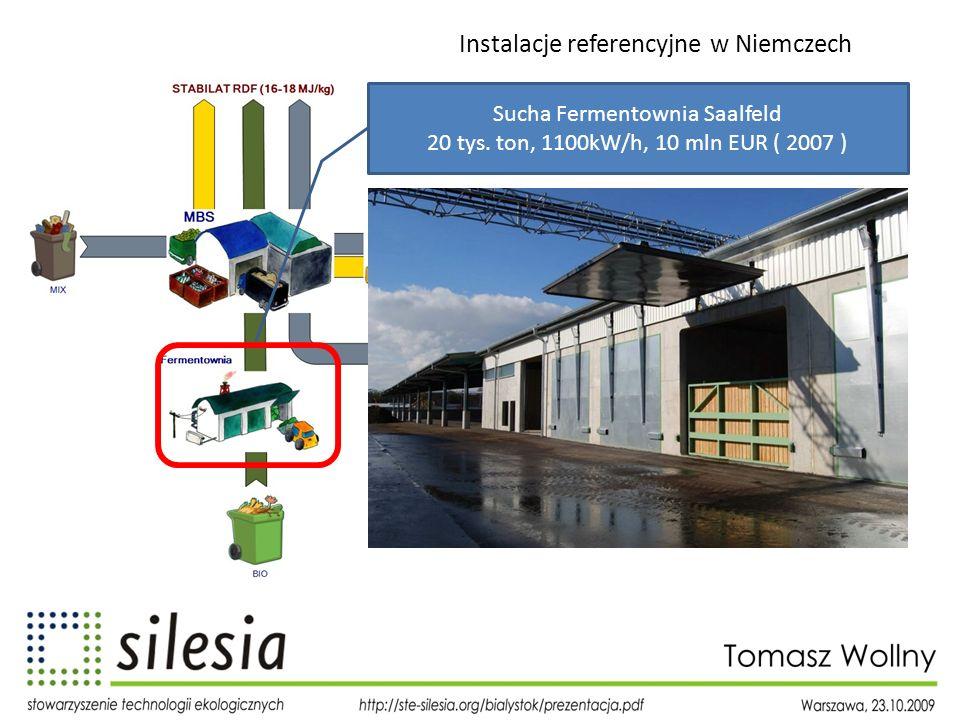 Instalacje referencyjne w Niemczech Sucha Fermentownia Saalfeld 20 tys. ton, 1100kW/h, 10 mln EUR ( 2007 )