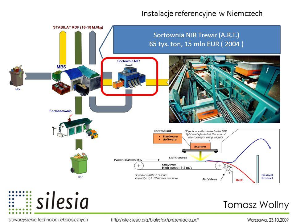 Instalacje referencyjne w Niemczech Sortownia NIR Trewir (A.R.T.) 65 tys. ton, 15 mln EUR ( 2004 )