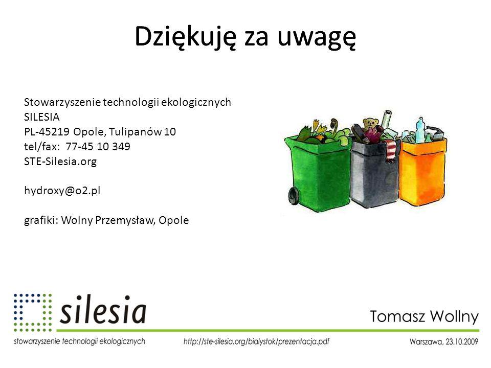 Dziękuję za uwagę Stowarzyszenie technologii ekologicznych SILESIA PL-45219 Opole, Tulipanów 10 tel/fax: 77-45 10 349 STE-Silesia.org hydroxy@o2.pl gr