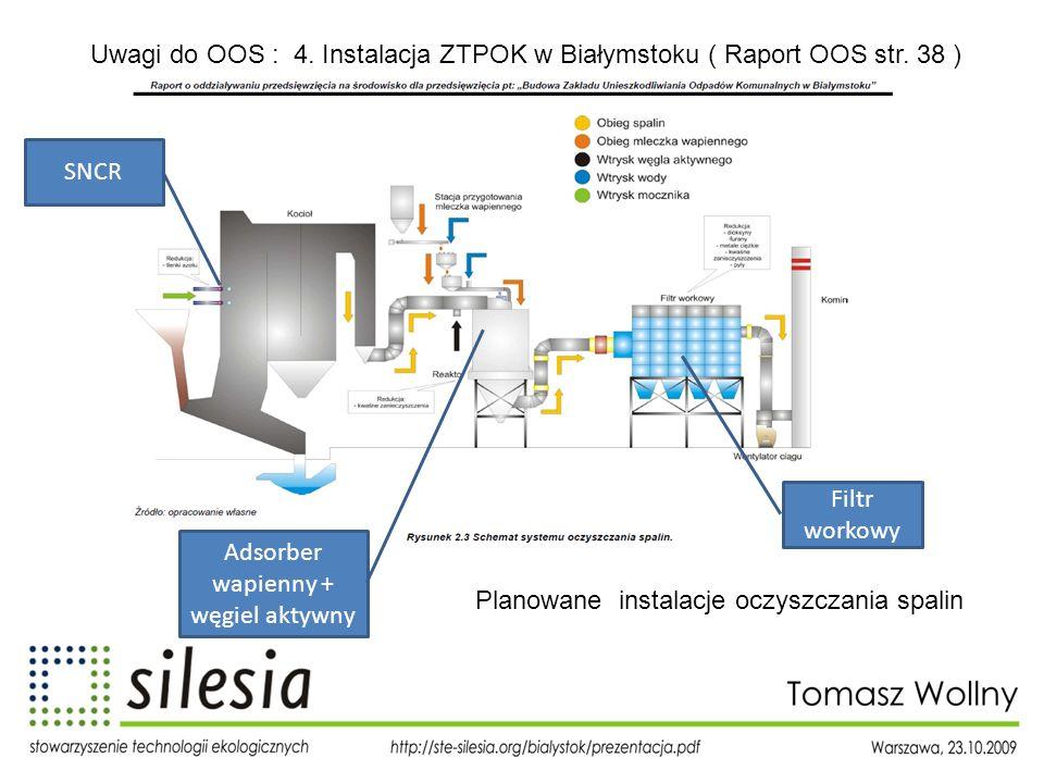 Uwagi do OOS : 4. Instalacja ZTPOK w Białymstoku ( Raport OOS str. 38 ) SNCR Adsorber wapienny + węgiel aktywny Filtr workowy Planowane instalacje ocz