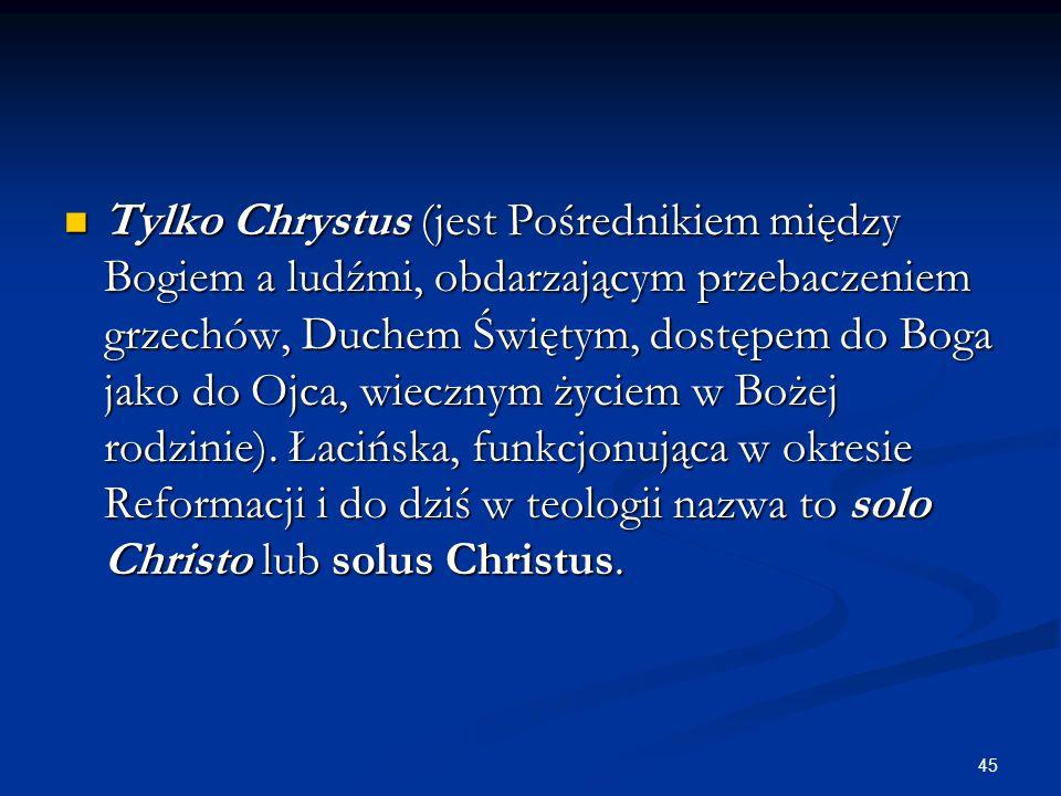 45 Tylko Chrystus (jest Pośrednikiem między Bogiem a ludźmi, obdarzającym przebaczeniem grzechów, Duchem Świętym, dostępem do Boga jako do Ojca, wiecz