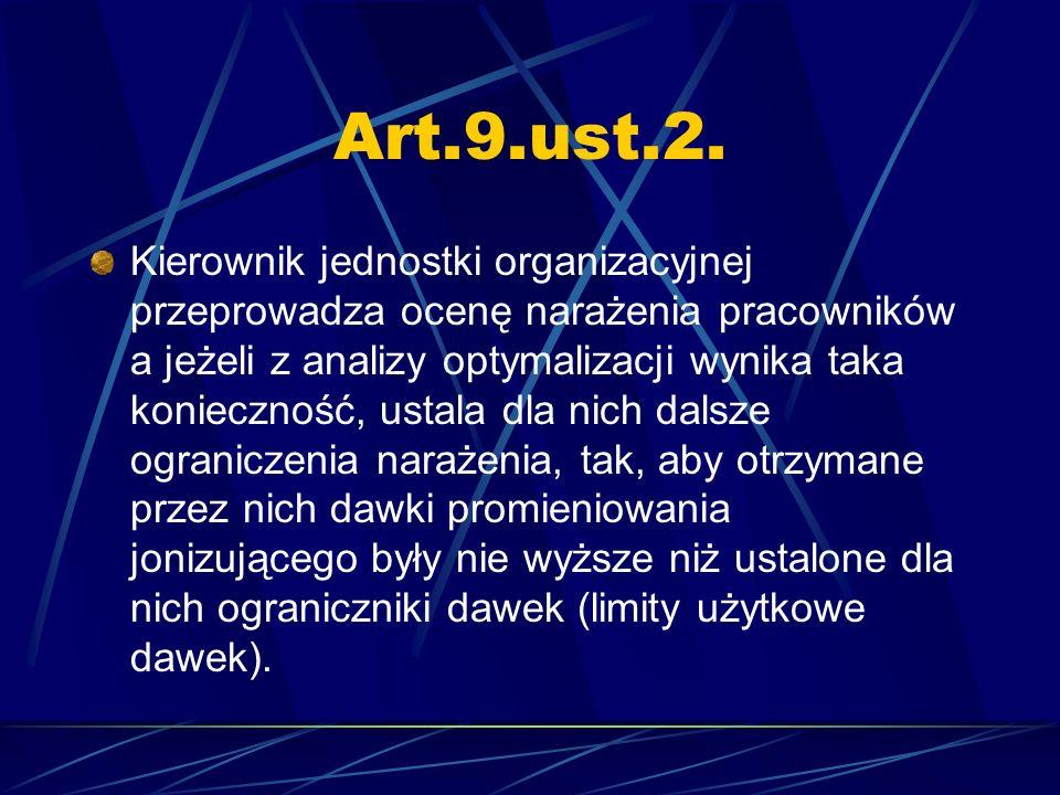 Art.9.ust.2. Kierownik jednostki organizacyjnej przeprowadza ocenę narażenia pracowników a jeżeli z analizy optymalizacji wynika taka konieczność, ust