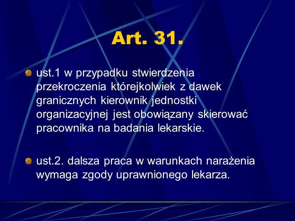 Art. 31. ust.1 w przypadku stwierdzenia przekroczenia którejkolwiek z dawek granicznych kierownik jednostki organizacyjnej jest obowiązany skierować p