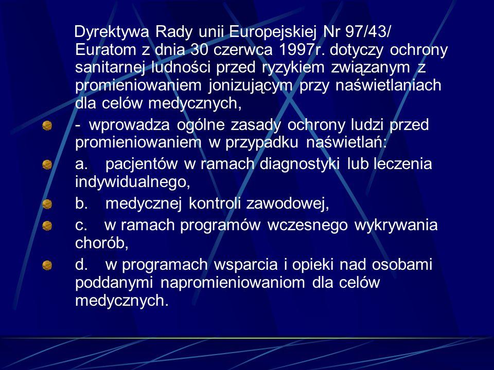Dyrektywa Rady unii Europejskiej Nr 97/43/ Euratom z dnia 30 czerwca 1997r. dotyczy ochrony sanitarnej ludności przed ryzykiem związanym z promieniowa