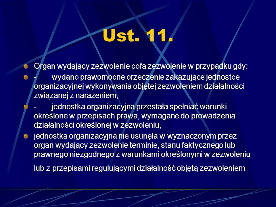 Ust. 11. Organ wydający zezwolenie cofa zezwolenie w przypadku gdy: - wydano prawomocne orzeczenie zakazujące jednostce organizacyjnej wykonywania obj