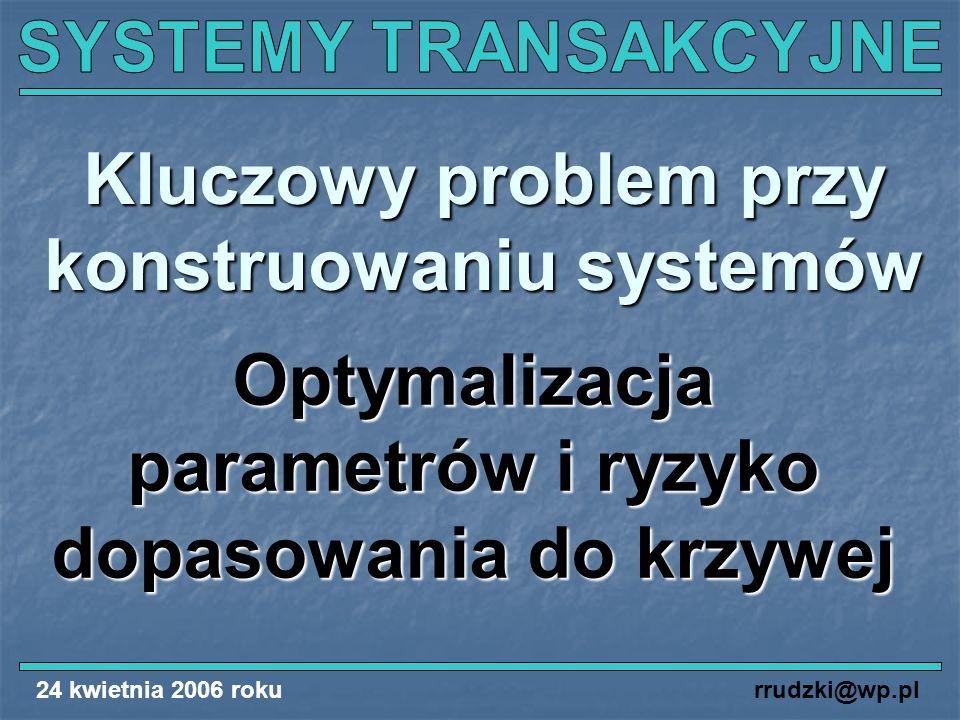 24 kwietnia 2006 rokurrudzki@wp.pl Kluczowy problem przy konstruowaniu systemów Optymalizacja parametrów i ryzyko dopasowania do krzywej