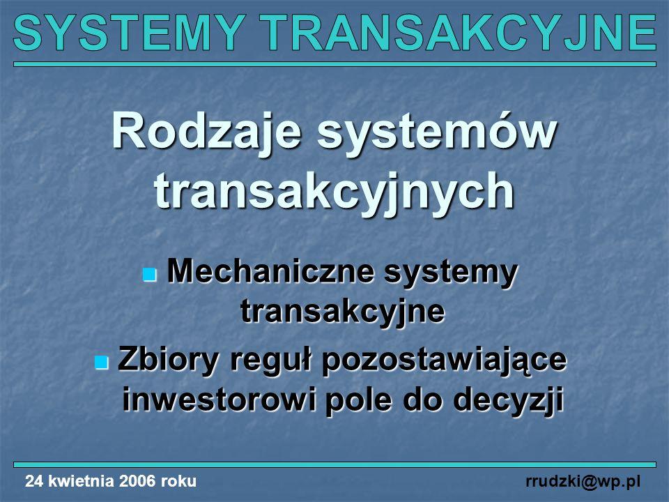 24 kwietnia 2006 rokurrudzki@wp.pl Rodzaje systemów transakcyjnych Mechaniczne systemy transakcyjne Mechaniczne systemy transakcyjne Zbiory reguł pozo