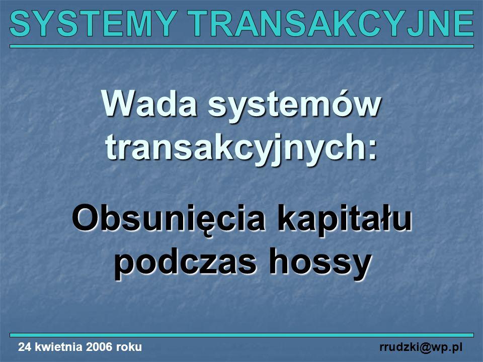 24 kwietnia 2006 rokurrudzki@wp.pl Wada systemów transakcyjnych: Obsunięcia kapitału podczas hossy