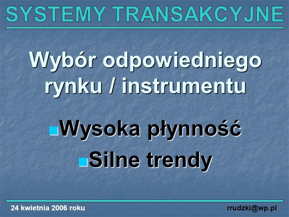 24 kwietnia 2006 rokurrudzki@wp.pl Wybór odpowiedniego rynku / instrumentu Wysoka płynność Wysoka płynność Silne trendy Silne trendy