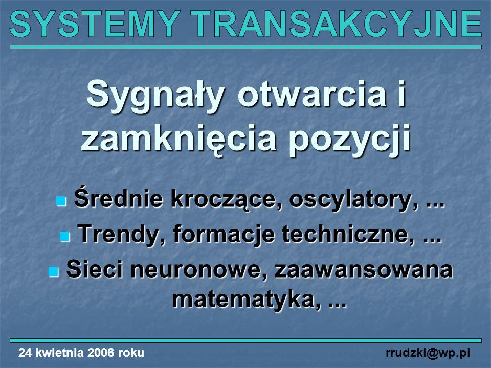 24 kwietnia 2006 rokurrudzki@wp.pl Sygnały otwarcia i zamknięcia pozycji Średnie kroczące, oscylatory,... Średnie kroczące, oscylatory,... Trendy, for