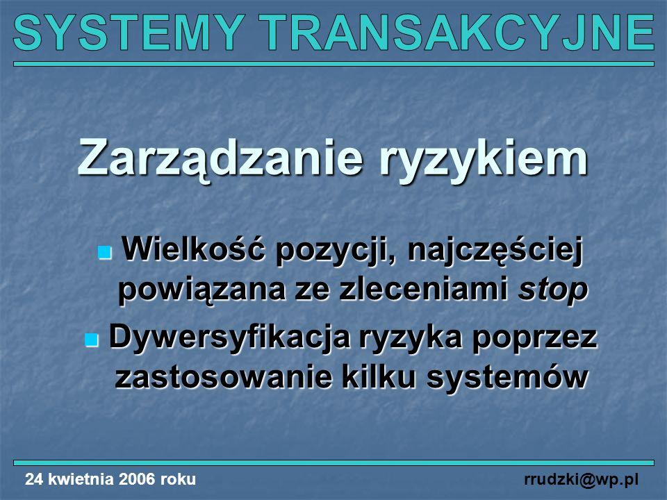 24 kwietnia 2006 rokurrudzki@wp.pl Zarządzanie ryzykiem Wielkość pozycji, najczęściej powiązana ze zleceniami stop Wielkość pozycji, najczęściej powią
