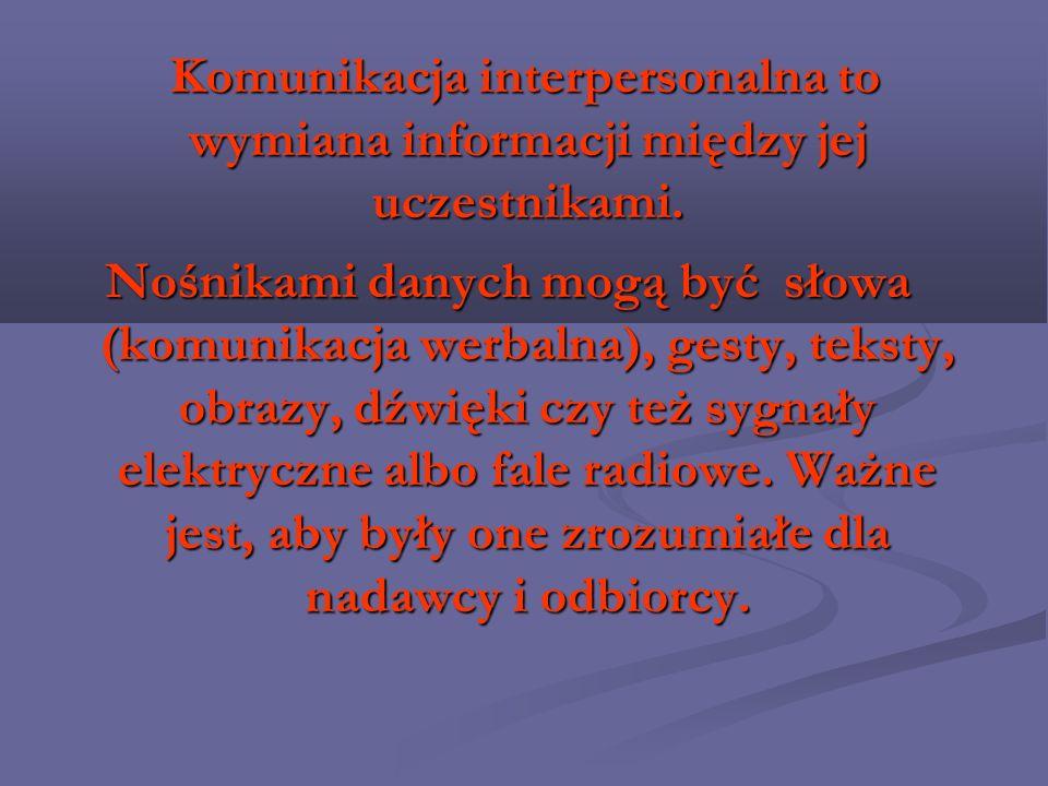 Komunikacja interpersonalna to wymiana informacji między jej uczestnikami. Komunikacja interpersonalna to wymiana informacji między jej uczestnikami.