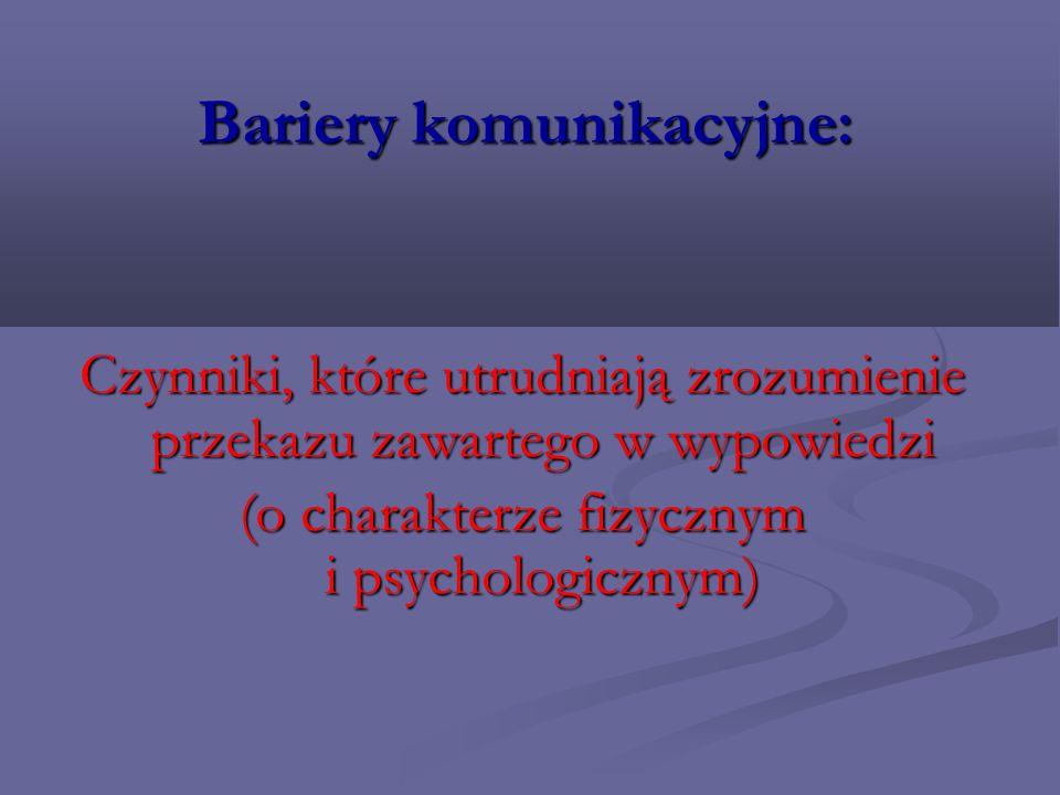 Bariery komunikacyjne: Czynniki, które utrudniają zrozumienie przekazu zawartego w wypowiedzi (o charakterze fizycznym i psychologicznym)