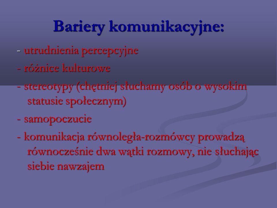 Bariery komunikacyjne c.d.: 1.filtrowanie – słuchamy wybiórczo, filtrujemy informacje 2.