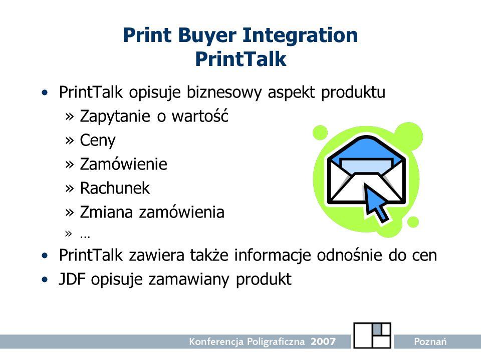 Print Buyer Integration PrintTalk PrintTalk opisuje biznesowy aspekt produktu »Zapytanie o wartość »Ceny »Zamówienie »Rachunek »Zmiana zamówienia »… P