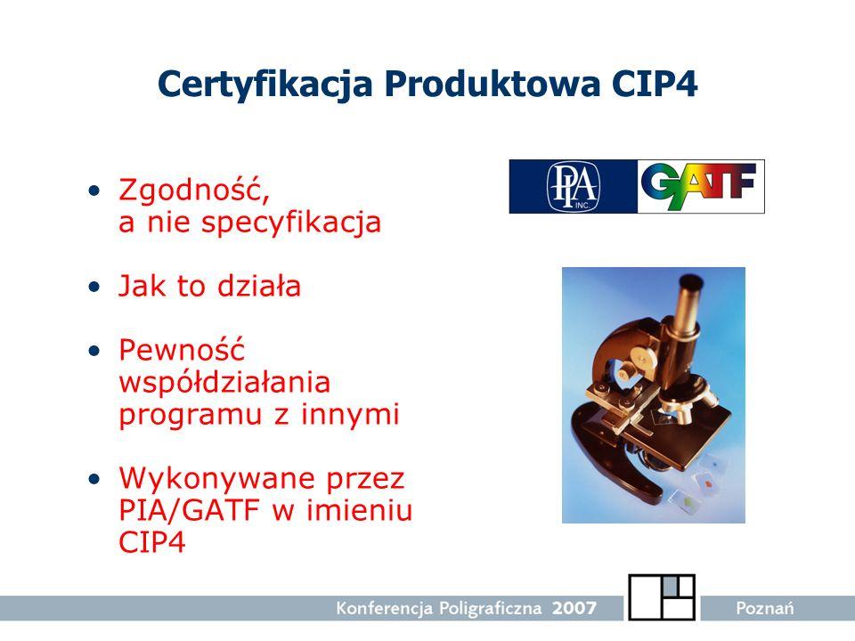Certyfikacja Produktowa CIP4 Zgodność, a nie specyfikacja Jak to działa Pewność współdziałania programu z innymi Wykonywane przez PIA/GATF w imieniu C