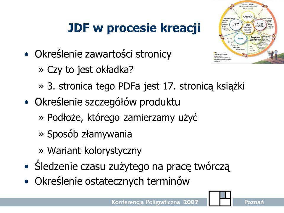 JDF w procesie kreacji Określenie zawartości stronicy »Czy to jest okładka? »3. stronica tego PDFa jest 17. stronicą książki Określenie szczegółów pro