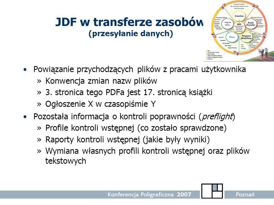 JDF w transferze zasobów (przesyłanie danych) Powiązanie przychodzących plików z pracami użytkownika »Konwencja zmian nazw plików »3. stronica tego PD