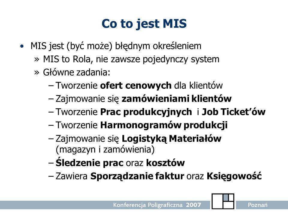 Co to jest MIS MIS jest (być może) błędnym określeniem »MIS to Rola, nie zawsze pojedynczy system »Główne zadania: –Tworzenie ofert cenowych dla klien