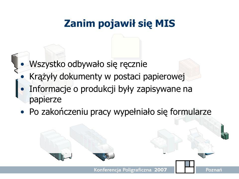 Zanim pojawił się MIS Wszystko odbywało się ręcznie Krążyły dokumenty w postaci papierowej Informacje o produkcji były zapisywane na papierze Po zakoń