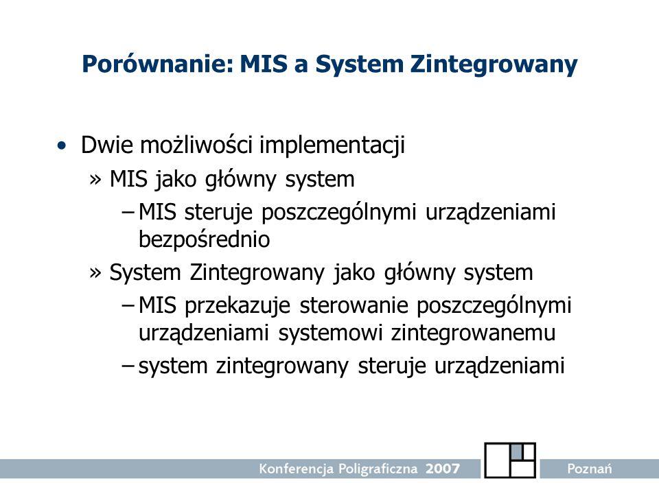 Porównanie: MIS a System Zintegrowany Dwie możliwości implementacji »MIS jako główny system –MIS steruje poszczególnymi urządzeniami bezpośrednio »Sys